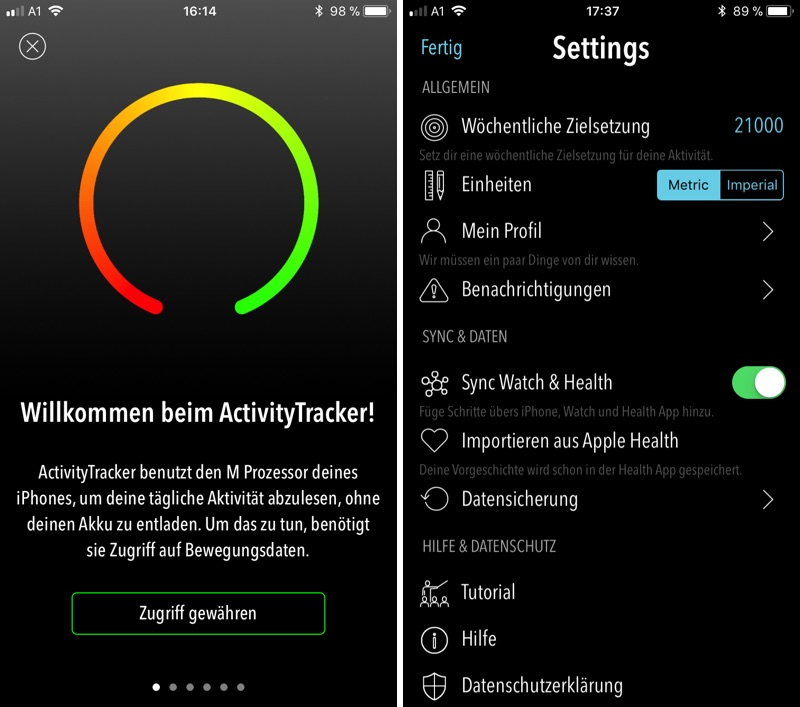 ActivityTracker am iPhone