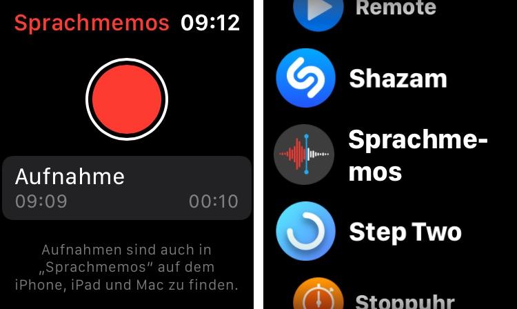 Sprachmemos direkt auf der Apple Watch
