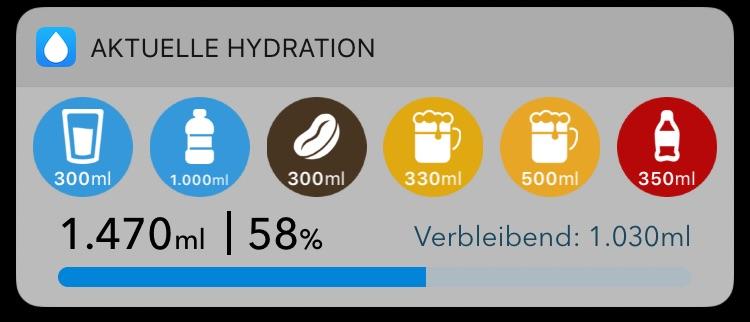 WaterMinder Heute-Widget am iPhone