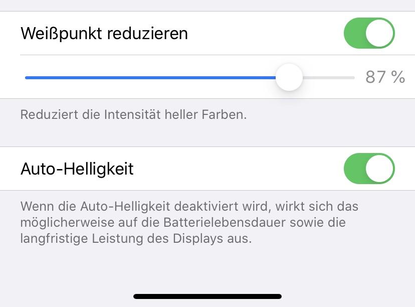 Weißpunkt reduzieren am iPhone & iPad
