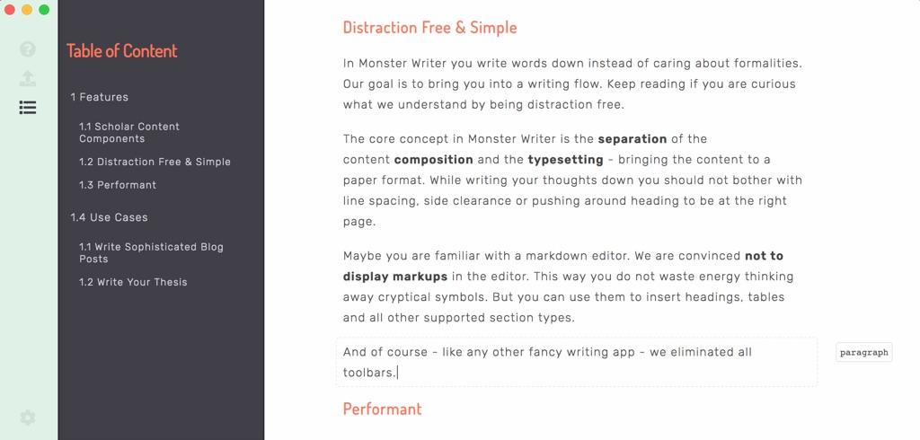 MonsterWriter Text-Editor für macOS | Screenshot © Oliver Wolf