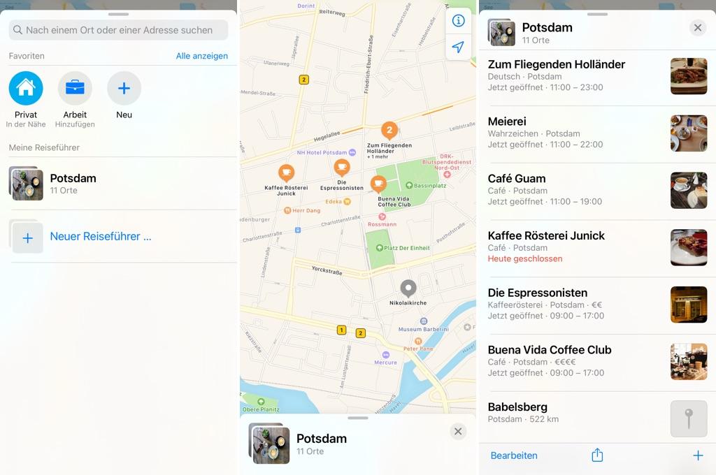 Reiseführer in der Karten-App am iPhone