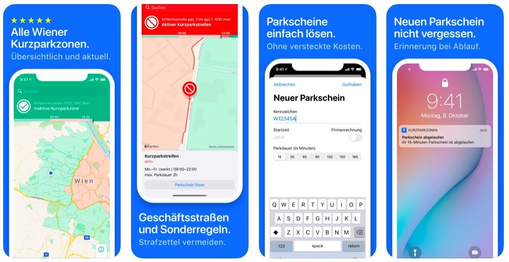 """Kurzparkzonen & Parken Wien""-App fürs iPhone"