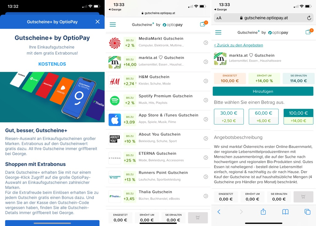 Gutscheine+ by OptioPay in der George-App