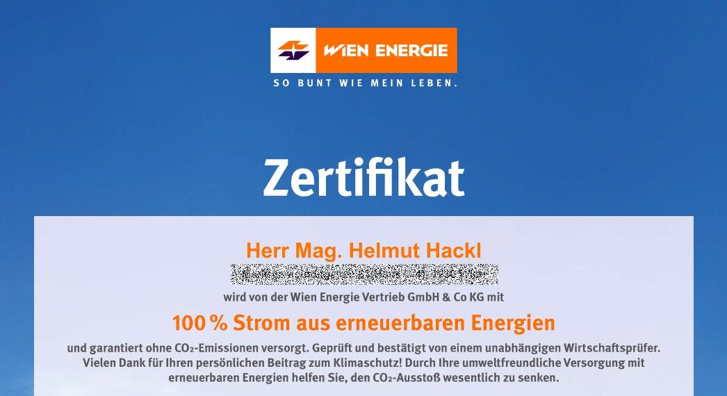 Zertifikat 100% Strom aus erneuerbaren Energien