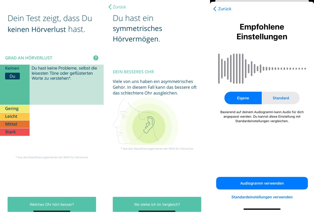 Mimi Hörtest App am iPhone