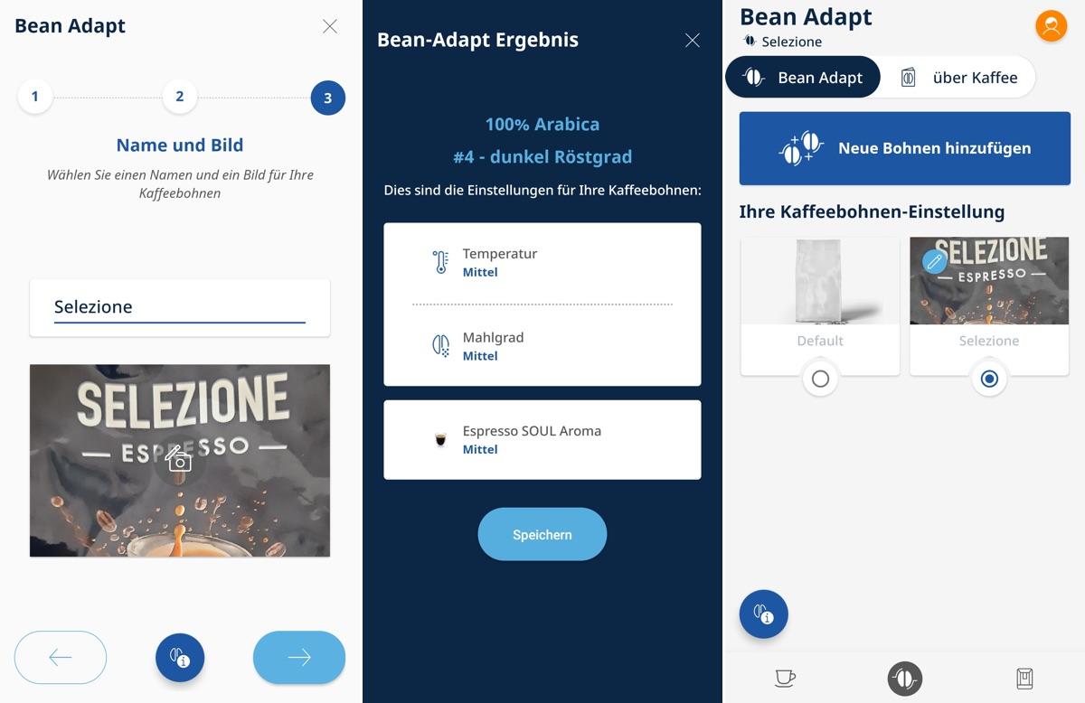Bean Adapt in der De'Longhi Coffee Link App