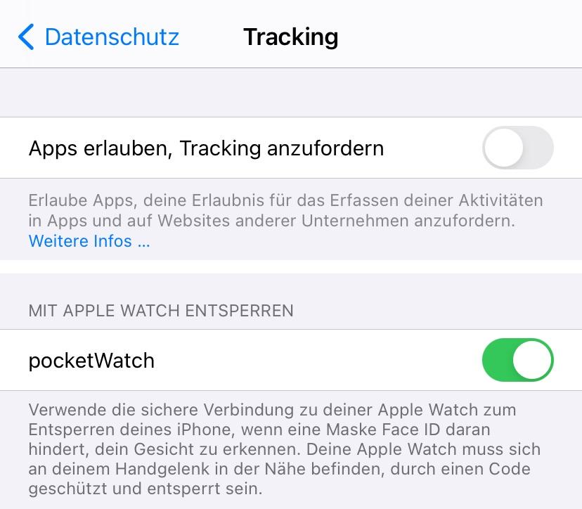 Tracking deaktivieren - Entsperren iPhone mit der Watch